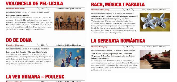 Concerts del 2021 de la IX Temporada de Música a l'Espai l'Amistat
